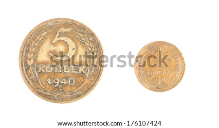 two coins in white backgrounde