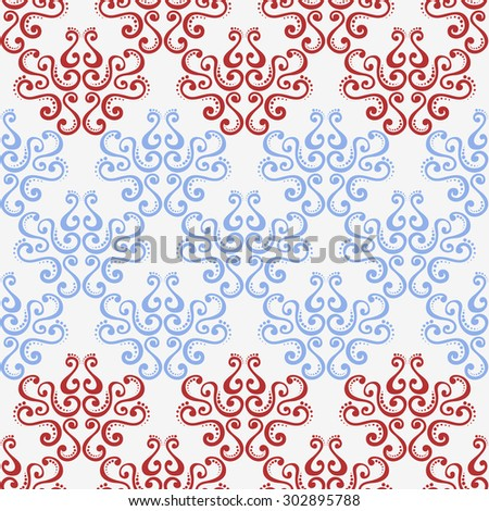 two-color abstract background damask.Seamless damask pattern in red and blue colors on a white background. curls. cloth. wallpaper. - stock photo