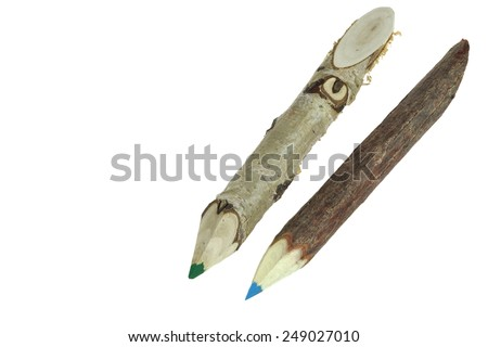 Two Color Big Pencil Made From Natural Wood Twig Isolated on white Background. - stock photo