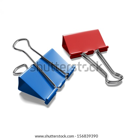 Two color binder clip on a white background isolated - stock photo