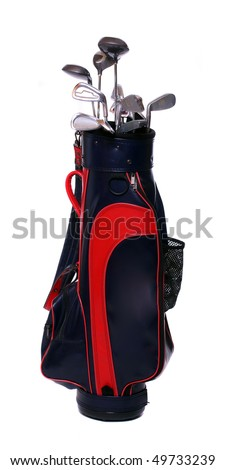 Two color golf clubs bag - isolated on a white background. - stock photo