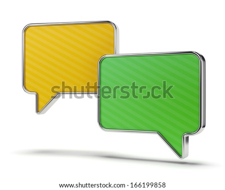 Two color green and yellow speech bubbles isolated on white background. Web communication and chatting concept.