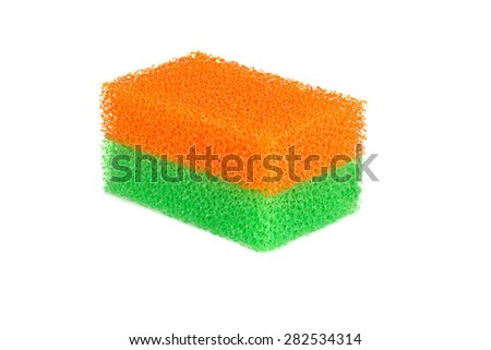 two color household sponges for washing dishes on a white background - stock photo