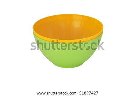 Two color plastic bowls on white background