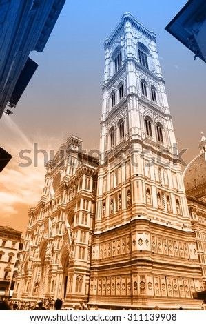 Two-color postcard with view of Florence - stock photo