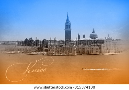 Two-color postcard with view of Venice - stock photo