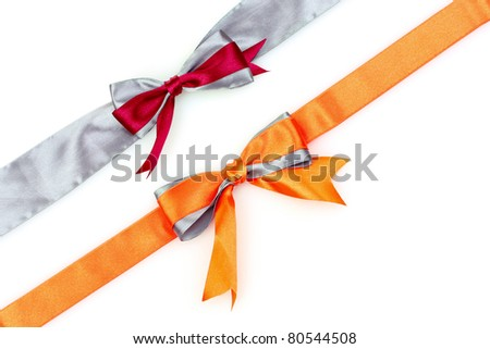 two color ribbons and bow isolated on white background - stock photo