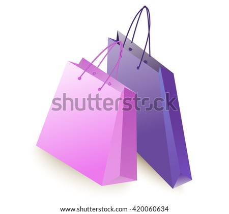 two color shopping bag is empty.  - stock photo