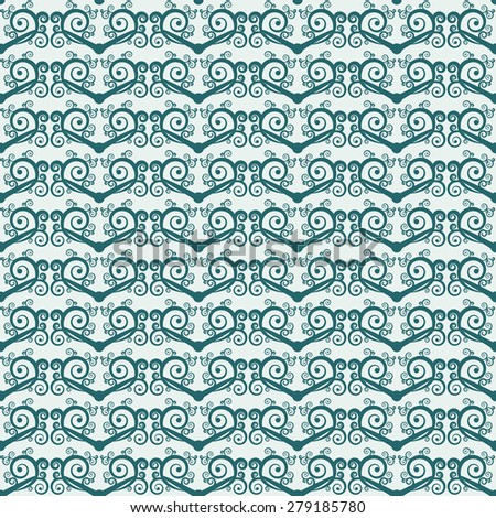 Two-color simple seamless background with spirals and swirls. Ethnic style pattern. Rasterized version. - stock photo