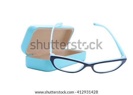 two-colored eyeglasses isolated on white background - stock photo