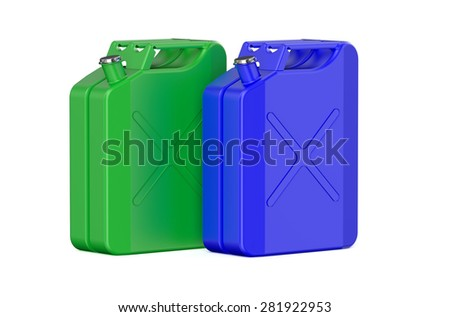 two colored steel jerrycans isolated on white background