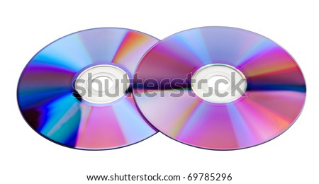 Two colorful CDs isolated on white background - stock photo