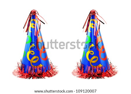 Two colorful holiday celebration party hats isolated on a white background with copy space.