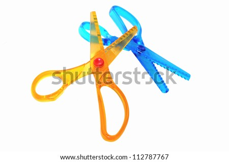 two colorful kid scissors  isolated on white