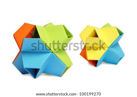 Two colorful origami kusudama  isolated on white background