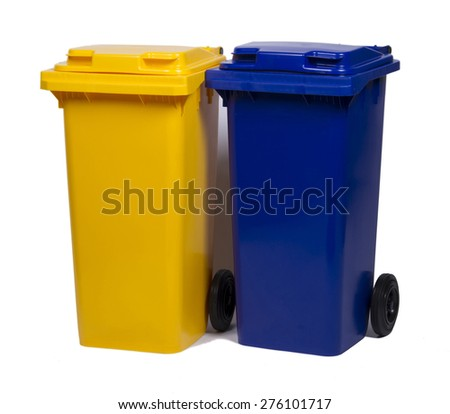 Two colorful recycle bins blue and yellow isolated on white back