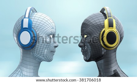 two colorful robot girl heads with shining eyes in big headphones facing each other, music poster template, isolated 3d render.