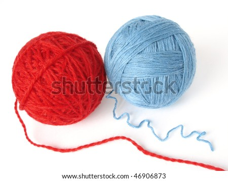 two colorful wool yarn skeins - stock photo