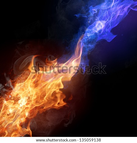 Two colors fire flames - stock photo