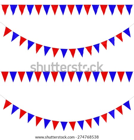 Two Colour Red and Blue Festival Bunting Collection: 3D reflection and flat orthographic textures - stock photo