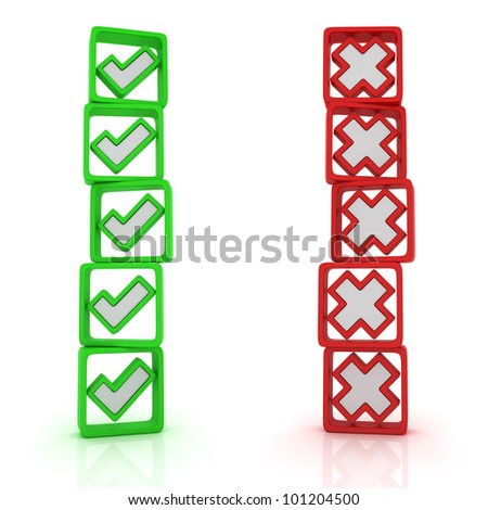 Two columns of oppositional voices - stock photo