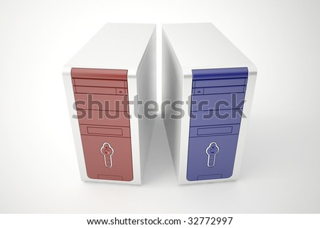 Two computer cases - stock photo