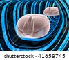 Two computer mouses against abstract background. - stock photo