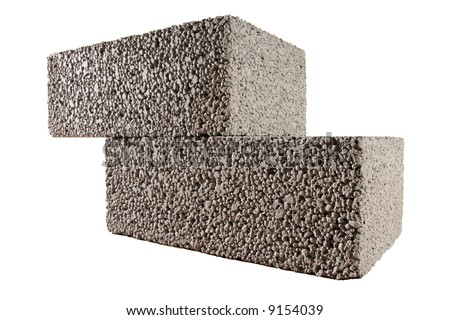 two concrete blocks isolated on white
