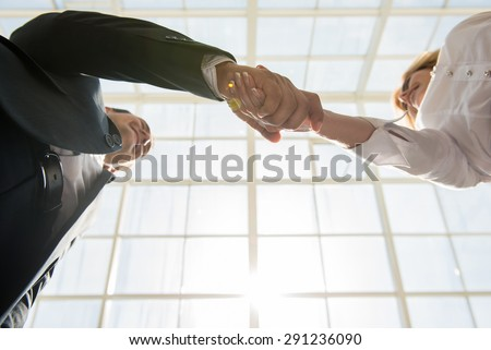 Two confident business people shaking hands at office. - stock photo