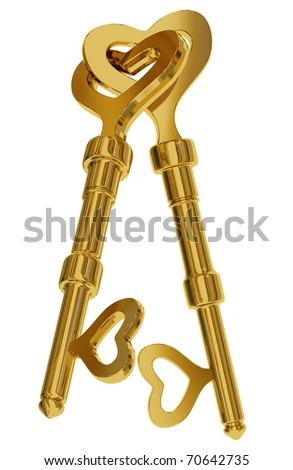 Two connected gold heart shaped keys isolated on white background. 3d render