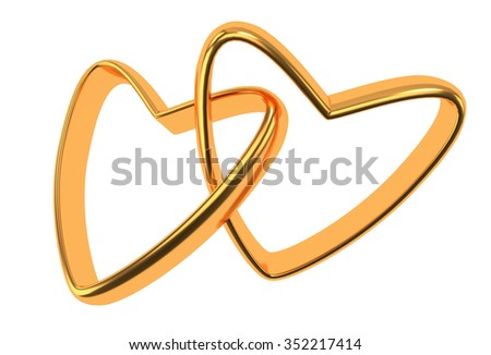 Two connected gold wedding hearts isolated on white - stock photo