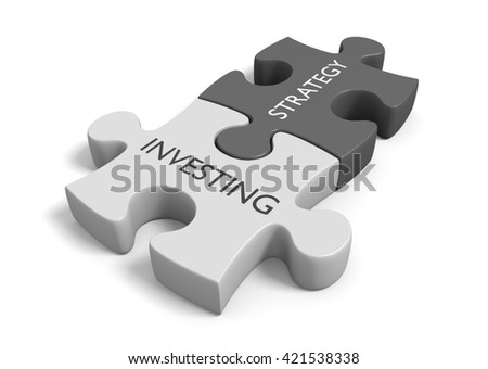 Two connected puzzle pieces with the words investing strategy, 3D rendering - stock photo