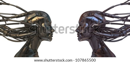 Two Connected Robots in profile isolated on white background