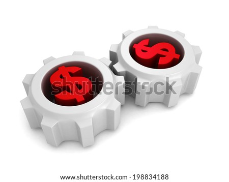 two connected working dollar currency symbol gears. concept business 3d render illustration