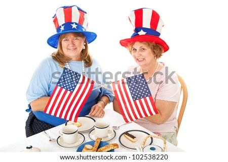 Two conservative American voters sitting down to a tea party.