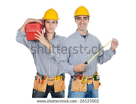 Two construction workers on a over white back ground