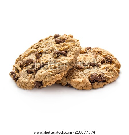Two cookies isolated on white background - stock photo