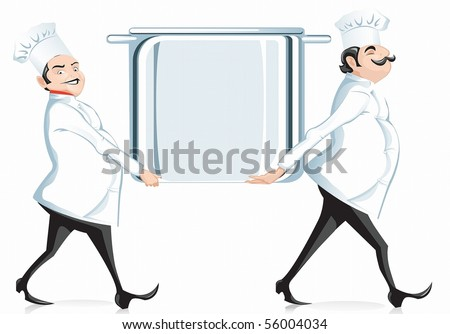 two cooks are framed in the form of pots - stock photo