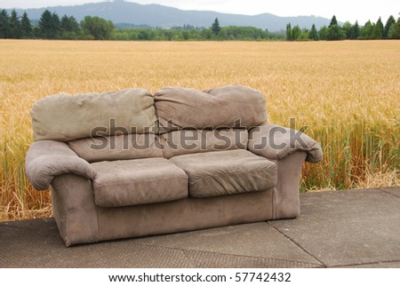 Two couches found sitting along side of a road near a wheat field near Corvallis Oregon.
