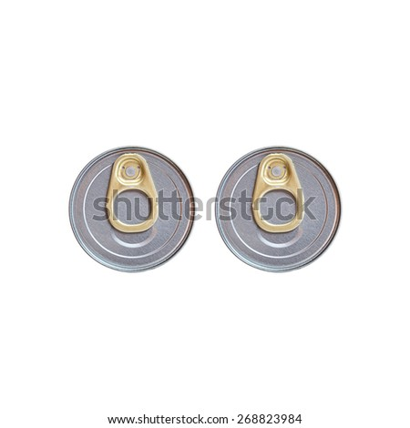 Two cover of canned top view isolated on white background - stock photo