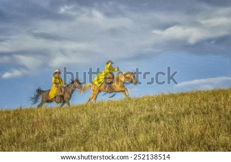 Two cowboys racing, digital oil painting - stock photo