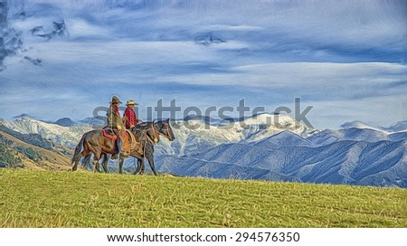 Two cowboys riding the range on Montana ranch, digital oil painting - stock photo