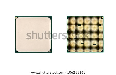 two CPU closeup on white background - stock photo