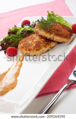 Two crab cakes appetizer garnished with spicy sauce, green salad, and raspbery.  - stock photo
