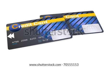 Two credit cards. Isolated white background. - stock photo
