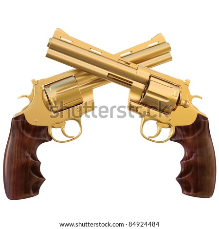 two crossed golden revolver. isolated on white. - stock photo