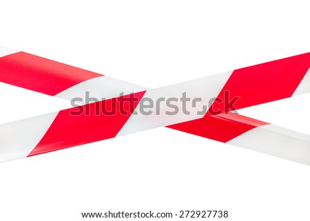Two crossed red and white tapes isolated on white background. This tapes are using as a sign to mark and prevent from dangerous or risky zones. - stock photo