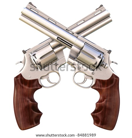 two crossed revolvers. isolated on white. - stock photo