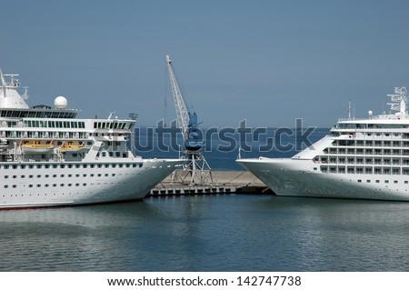 Two cruise ship in harbor. Tallinn, Estonia - stock photo