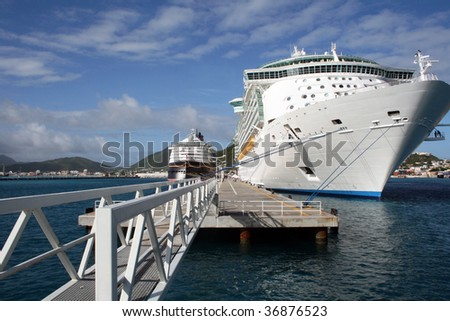 Two cruise ships docked in St. Marteen - stock photo